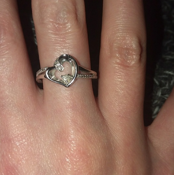 Zales Jewelry - 10 kt White Gold Heart Ring with Diamond Accents